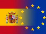 Spanish and European Union flags
