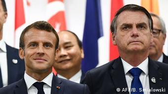 Presidentes Emmanuel Macron e Jair Bolsonaro