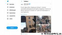 Screenshot Twitter Inneministerium Ukraine Zerstörtes Wohnhaus