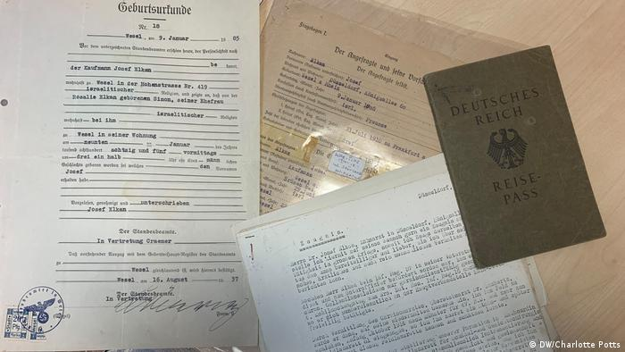 Historical documents including a passport
