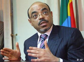Ethiopian Prime Minister Meles Zenawi is seen at his offices in the capital, Addis Ababa, Wednesday, Jan. 10, 2007. Zenawi said Wednesday that a U.S. airstrike in Somalia had not killed any civilians and, in his opinion, would not help create an Iraq-style insurgency or hinder efforts to build a peacekeeping force in the country. (AP Photo/Les Nauheus)