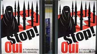 Swiss People's Party campaign poster showing woman in burqa against background of Swiss flag with minarets