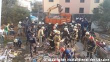 Ukraine Unglück | zerstörtes Gebäude in Drogobytsch