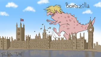 Μία καρικατούρα του Σέργκει Έλκιν θέλει τον Μπ. Τζόνσον... σαν τον Γκοτζίλα, να καταστρέφει το βρετανικό κοινοβούλιο.