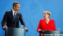 German Chancellor Angela Merkel and Greece's Prime Minister Kyriakos Mitsotakis hold a news conference after their meeting in Berlin, Germany, August 29, 2019. REUTERS/Axel Schmidt