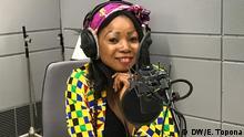 Sandra Topona Sängerin aus Tschad. Urheber: Eric Topona. Datum: 29. August 2019 Ort: Studio PK 4 der Deutschen Welle.