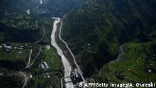 TOPSHOT - A general aerial view of the Neelum Jhelum river near Muzaffarabad in Pakistan-administered Kashmir on August 29, 2019. (Photo by AAMIR QURESHI / AFP) (Photo credit should read AAMIR QURESHI/AFP/Getty Images)