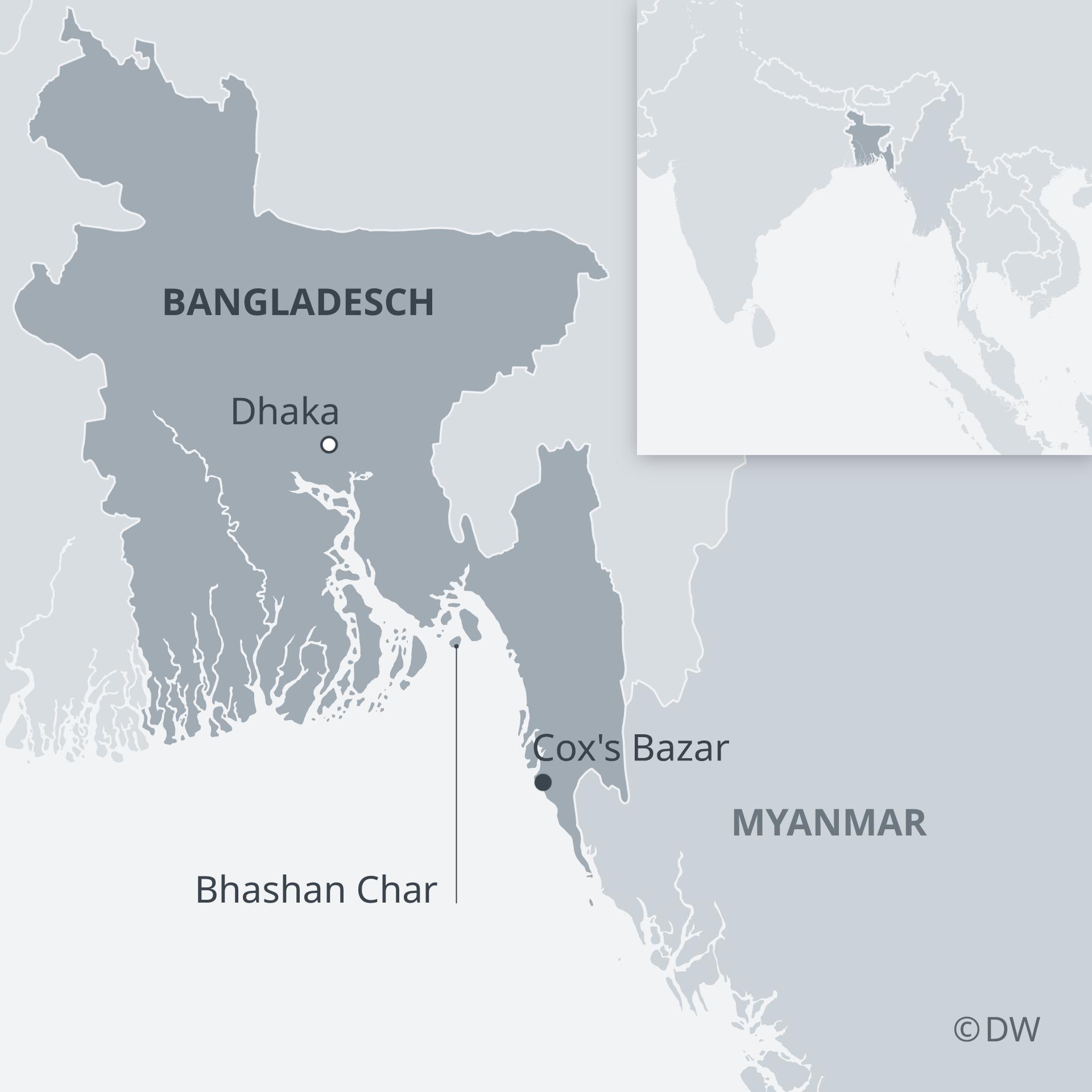 Karte Bangladesch Bhashan Char DE