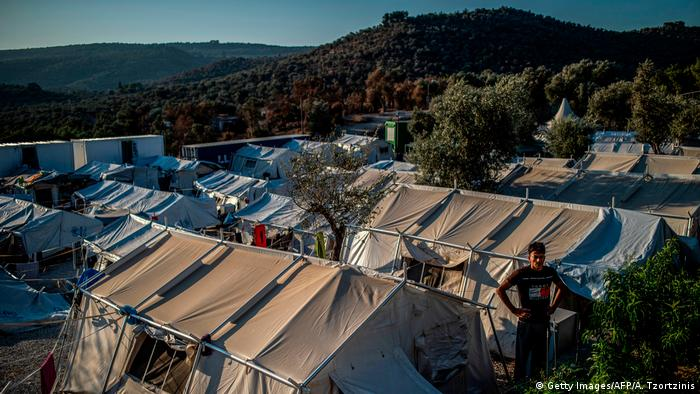 Tents in the Moria refugee camp on Lesbos