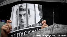 Russland Moskau | Demonstranten fordern Freilassung von Studenten Yegor Zhukov