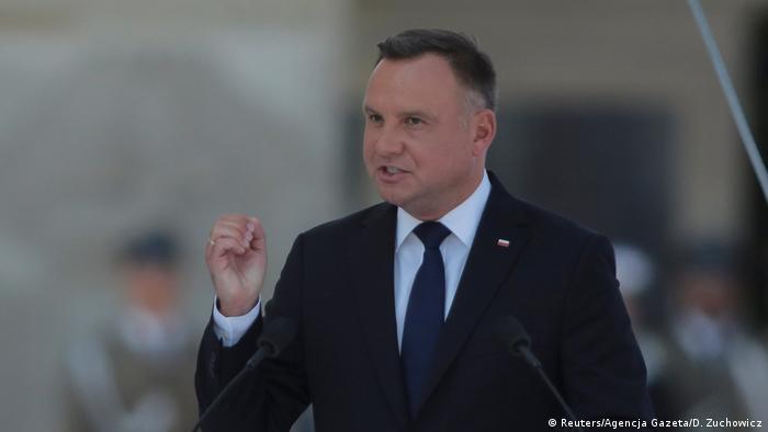 Presidente polonês, Andrzej Duda, discursando
