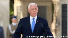 U.S. Vice President Mike Pence delivers a speech during a commemorative ceremony to mark the 80th anniversary of the outbreak of World War Two in Warsaw, Poland September 1, 2019. Slawomir Kaminski/Agencja Gazeta via REUTERS ATTENTION EDITORS - THIS IMAGE WAS PROVIDED BY A THIRD PARTY. POLAND OUT. NO COMMERCIAL OR EDITORIAL SALES IN POLAND.