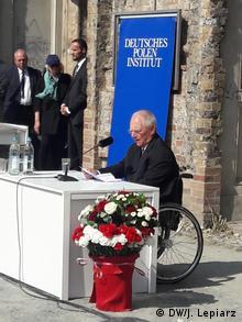 Przewodniczący Bundestagu Wolfgang Schaeuble na Placu Askańskim podczas obchodów 80. rocznicy rozpoczęcia II wojny światowej