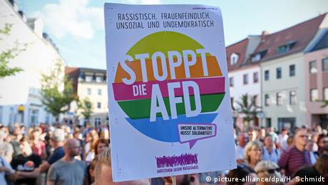 Anti-AfD protest poster in Saxony (picture-alliance/dpa/H. Schmidt)