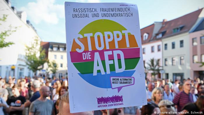 Sachsen AfD-Wahlkampf in Döbeln - Protest (picture-alliance/dpa/H. Schmidt)