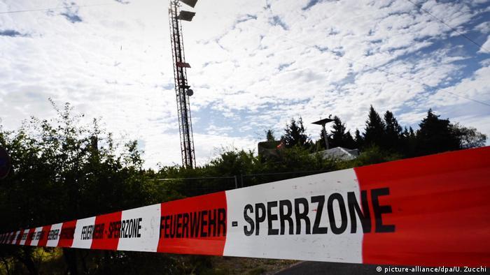 The mast near Eschwege, Germany, where a maintenance carriage fell