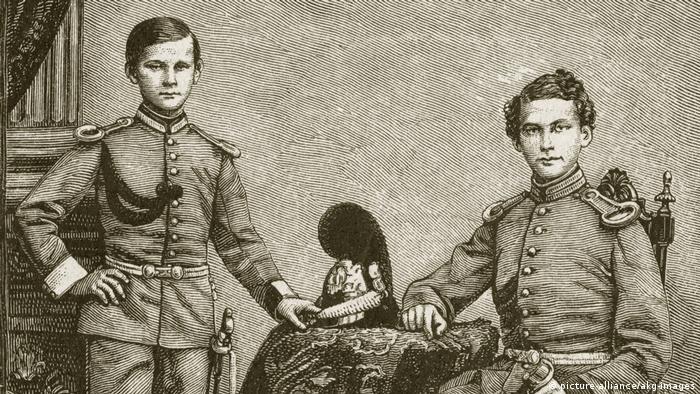 Баварский кронпринц Людвиг (справа) вместе с братом - принцем Отто на гравюре 1845 года