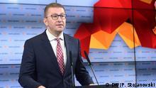 Hristijan Mickoski, der Vorsitzende der VMRO DPMNE, Skopje, 01.09.2019, Bild: Petr Stojanovski (Mazedonien, Nord-Mazedonien, Hristijan Mickoski, VMRO DPMNE)