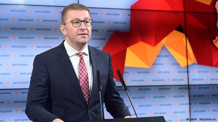 Nord-Mazedonien Hristijan Mickoski Vorsitzender VMRO DPMNE (DW/P. Stojanovski)