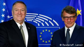 O υπ. Εξωτερικών των ΗΠΑ Μάικ Πομπέο με τον νέο πρόεδρο του Ευρωκοινοβουλίου Νταβίντ Σασόλι
