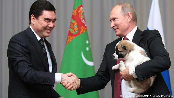 Russian President Vladimir Putin and Turkmenistan President Berdymukhammedov with puppy in 2017