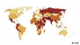 Weltkarte mit Markierung der Länder, die von Kriegen oder Konflikten betroffen sind (Grafik: Heidelberger Institut für Internationale Konfliktforschung)