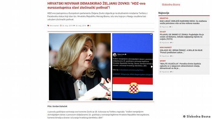 Screenshot | Portal Slobodna Bosna aus Sarajevo, Bosnien und Herzegowina (Slobodna Bosna)