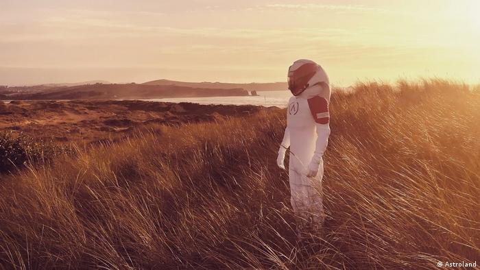 A person in a spacesuit at Astroland's Ares Station in Spain, a vision of a human colony on Mars
