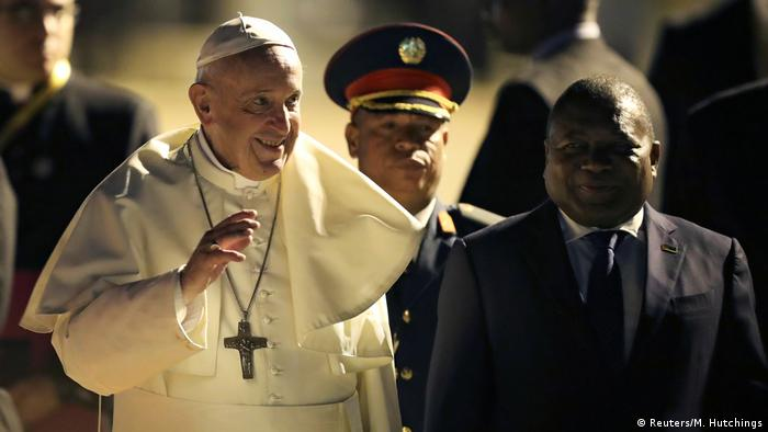 Pope Francis is welcomed by Mozambique's President Filipe Nyusi as he arrives in Maputo at the start of his visit to Mozambique, Madagascar and Mauritius.