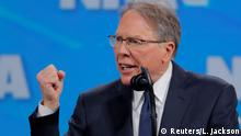 FILE PHOTO: Wayne LaPierre, executive vice president and CEO of the National Rifle Association (NRA), speaks atthe NRA annual meeting in Indianapolis, Indiana, U.S., April 26, 2019. REUTERS/Lucas Jackson/File Photo