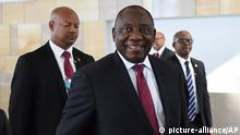 South African President Cyril Ramaphosa attends the World Economic Forum on Africa in Cape Town, South Africa, Thursday, Sept 5, 2019. Delegates attending the three-day summit that will tackle the issues faced by the continent by focusing on how to scale up the transformation of regional architecture related to smart institutions, investment, integration, industry and innovation. (AP Photo)