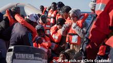 Migrants on board the rescue ship 'Sea-Watch 3' (Sea-Watch.org/Chris Grodotzki )