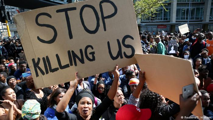 Protesters in South Africa demonstrating against violence toward women
