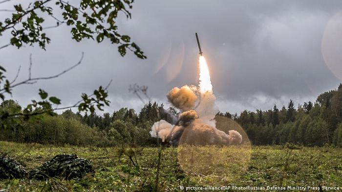 A Russian Iskander-K missile launched during a military exercise at a training ground at the Luzhsky Range, near St. Petersburg