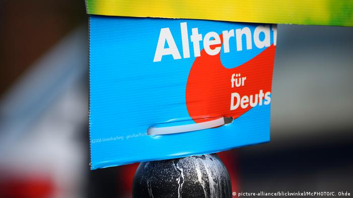 Torn election poster for the AfD