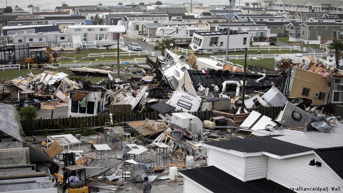A damaged mobile home park in Emerald Isle, North Carolina