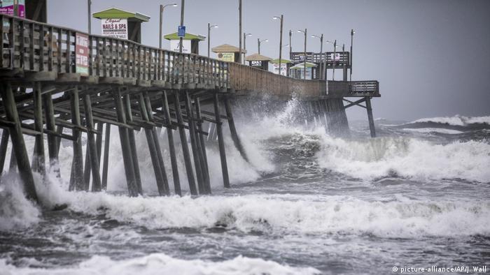A pier in North Carolina, USA during Hurricane Dorian