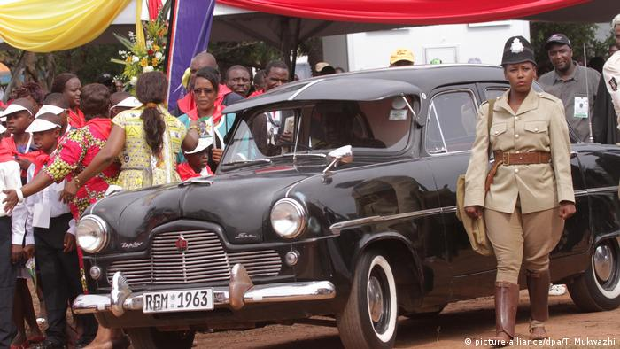The car that President Robert Mugabe owned and drove in 1955, a Ford Mondeo, is seen during celebrations to mark his 91st birthday in the resort town of Victoria Falls, Zimbabwe