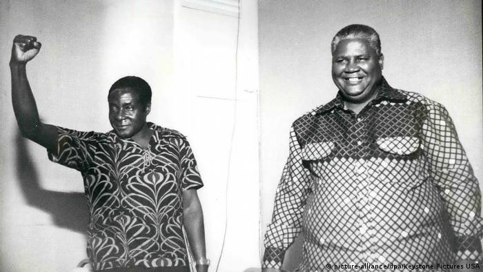 1962 - Rhodesia: Two of the most important Nationalist Leaders of Rhodesia pictured together recently, on left is Mr. Robert Mugabe with Joshua Nkomo, leader of ZAPU