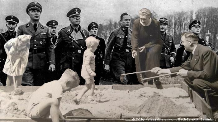 Photo collage of von dem Bach-Zelewski with his children and in a Nazi SS uniform