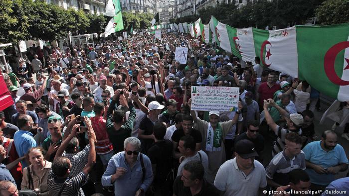 Algerien Algier | Demonstranten tragen algerische Nationalflaggen bei einem Protest gegen die Regierung