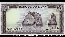Banknote aus dem Libanon, 10 Pfund oder Livres, Felsen im Wasser, 1986 | Verwendung weltweit, Keine Weitergabe an Wiederverkäufer.
