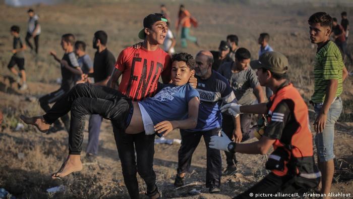 Palestinian protesters in the Gaza Strip