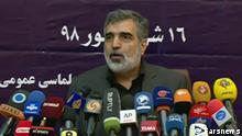 Behrouz Kamalvandi, Iran Sprecher der Atomorganisation, in einer Pressekonferenz