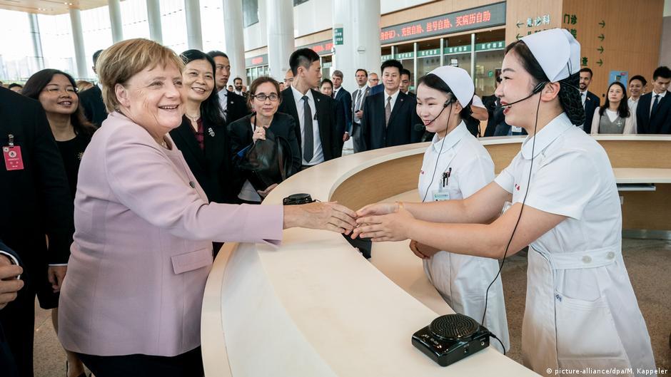 2019年9月默克爾以總理身份最後一次訪華,在武漢參觀德中友好醫院