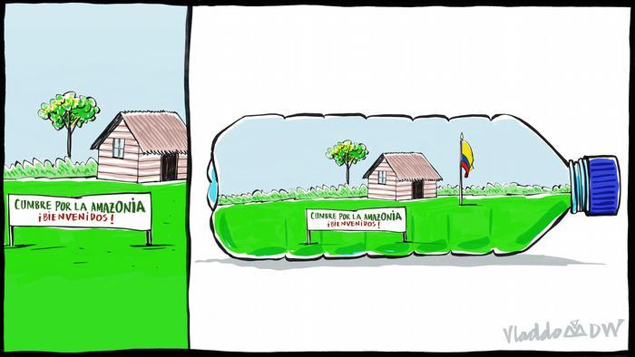 Karikatur von Vladdo, Perspektivisches Problem.