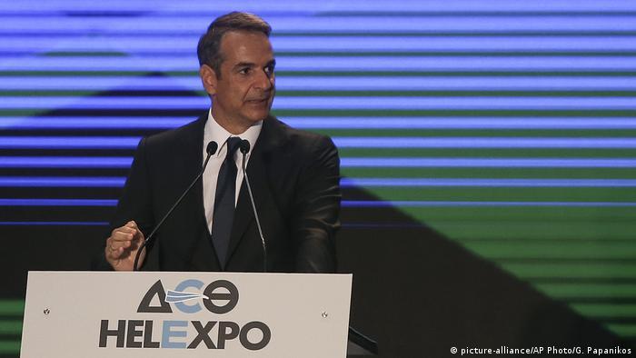 Griechenland Thessaloniki Premierminister Kyriakos Mitsotakis bei der Eröffnung der HELEXPO (picture-alliance/AP Photo/G. Papanikos)