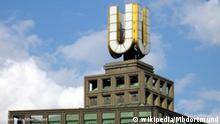 """Das Dortmunder U: Zukünftiger Standort des Museums. Dortmund, """"das U"""": frühere Union-Brauerei, Brau- und Brunnen, Westfassade, teilweise nach dem Krieg nicht wiederaufgebautes Stockwerkgerippe."""
