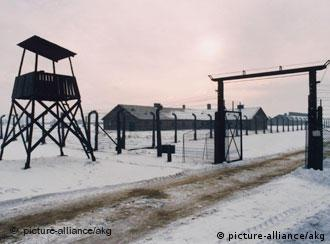 Watch tower and camp at Auschwitz