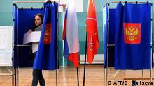 Russland Kommunal- und Regionalwahlen in Moskau l Wahllokal
